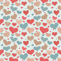 Seamless Pattern Romantic Love Hearts Retro Sketch Doodles Icons Set Valentine s Day Vector Illustration