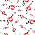 Seamless pattern. Romantic print for fabric. Love. Lettering. Kiss. Lip print. Valentine. Red. On white background. Vector.