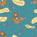 Seamless Pattern with Rooster and Trumpet Royalty Free Stock Photo