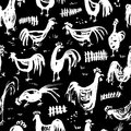 Seamless pattern with roosters. Ink artistic drawing with cocks