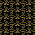 Seamless pattern with ropes anchors chain and waves gold and black. Ongoing backgrounds of marine theme. Vector Royalty Free Stock Photo