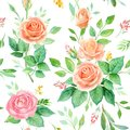 Seamless pattern with rose flowers and leaves. Watercolor hand drawn background. floral pattern for wallpaper or fabric.