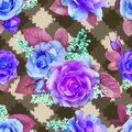 Seamless pattern of roses and lilacs on a checkered background