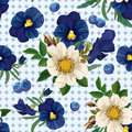 Seamless pattern of the roses the pansies and the blue berrie bouquet white purple berries Stock Photos