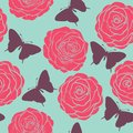 Seamless pattern with roses and silhouettes of butterflies painted in pastel colors in graphic style beautiful Stock Photo