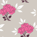 Seamless pattern with roses vector floral pink Royalty Free Stock Image