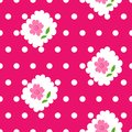 Seamless pattern with roses and white dots on pink background. Royalty Free Stock Photo