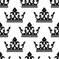 Seamless pattern of a royal crown silhouettes