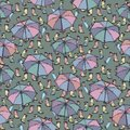 Seamless pattern with rubber boots and umbrella.