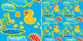 Seamless pattern with rubber duck and boots Stock Photos