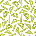 Seamless pattern from rulers of green color in the style of Kawai