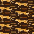 Seamless pattern with running cheetahs, leopards. Repeated exotic wild cats on a brown background. Vector illustration Royalty Free Stock Photo