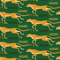 Seamless pattern with running cheetahs, leopards. Repeated exotic wild cats on a green background. Vector illustration Royalty Free Stock Photo