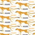 Seamless pattern with running cheetahs, leopards. Repeating exotic wild cats on a white background. Vector illustration Royalty Free Stock Photo