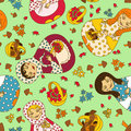 Seamless pattern of russian dolls matrioshka and baskets berries and mushrooms Royalty Free Stock Photography