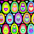Seamless pattern russian dolls matryoshka on white background bright colors birthday baby shower party design vector illustration Stock Photography
