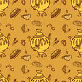 Seamless pattern with Russian traditional food and Samovar