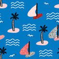 Seamless pattern with sailboats. Marine summer modern background. Vector Illustration