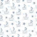 Seamless pattern with sailing boat.