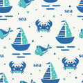 Seamless pattern with sailing ship, fish and crabs