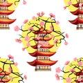 Seamless pattern Sakura cherry sunset Chinese pagoda  Vector ill Royalty Free Stock Photo