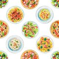 Watercolor seamless pattern with plates with food