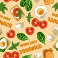 Seamless pattern with sandwich and ingredients for sandwich