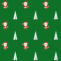 Seamless pattern with santa claus and christmas tree. Background for invitation, poster, greeting cards, wallpaper.