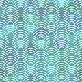 Seamless pattern scales simple Nature abstract texture with japanese wave circle pattern pastel colors blue waves sea ocean backgr