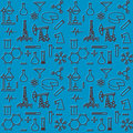 Seamless pattern of scientific icons vector eps illustration Royalty Free Stock Photo