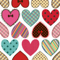 Seamless pattern of scrapbook hearts colorful fabric Stock Images