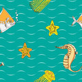 Seamless pattern with sea inhabitants of the on a color background Royalty Free Stock Photos