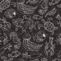 Seamless pattern with sea inhabitants on a dark background Royalty Free Stock Photo