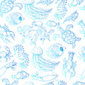 Seamless pattern with sea inhabitants on a white background Royalty Free Stock Photo
