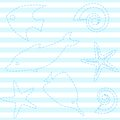 Seamless pattern sea life stripes Stock Photo