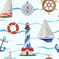 Seamless pattern on the sea and sailing theme. Vector illustration.
