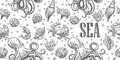Seamless pattern sea shell, coral, crab, octopus and shrimp. Vector engraving vintage illustrations. Isolated on white background Royalty Free Stock Photo