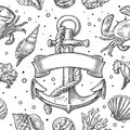 Seamless pattern sea shell, coral, crab and shrimp. Vector engraving vintage illustrations. Isolated on white background Royalty Free Stock Photo