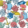 Seamless pattern. Sea shell, seaweed, anchor, bottle, seahorse, and fish. Hand drawn underwater creatures.