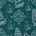Seamless pattern with sea symbols and ships