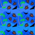 Seamless pattern from sea turtles and bat ray near palm tree