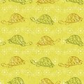 Seamless pattern, turtles and starfishes