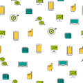 Seamless pattern - seo thin line icons