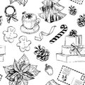 Seamless pattern with Set of Christmas decoration
