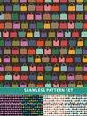 Seamless pattern set. Colorful handbags Royalty Free Stock Photo
