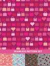 Seamless pattern set. Colorful handbags and hearts Royalty Free Stock Photo