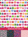 Seamless pattern set. Colorful handbags and lips Royalty Free Stock Photo