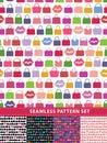 Seamless pattern set. Colorful handbags and lips Royalty Free Stock Photo