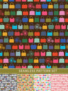 Seamless pattern set colorful handbags and retro bicycle five womans fashion illustration Stock Photos