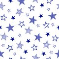 Seamless pattern with set drawn stars. Vector Wallpaper blue stars on a white background